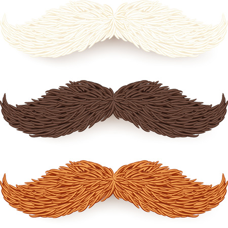 black head and moustache: White, brown and red isolated mustaches set