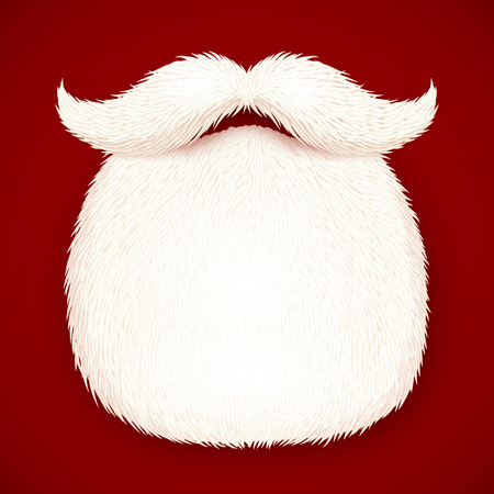 Realistic Santa\'s beard isolated on red background Vector Illustration