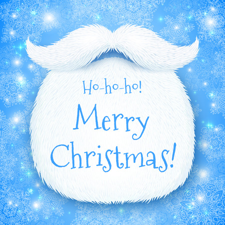 ho: Santas beard with Happy New Year sign on blue snowy background