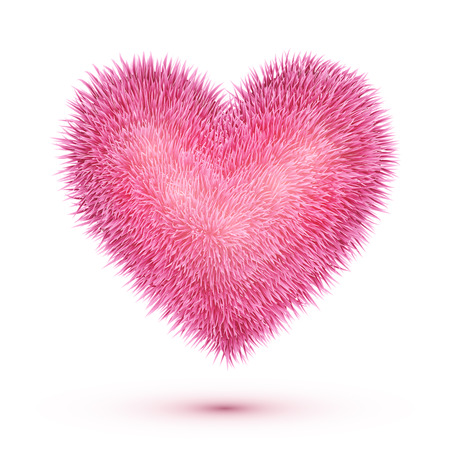 Pink fluffy isolated vector heart Illustration