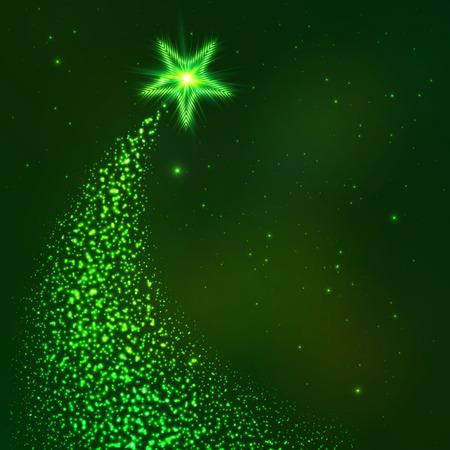 star trail: Green star way vector Christmas tree