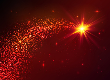 Red vector star with dust tail on dark background