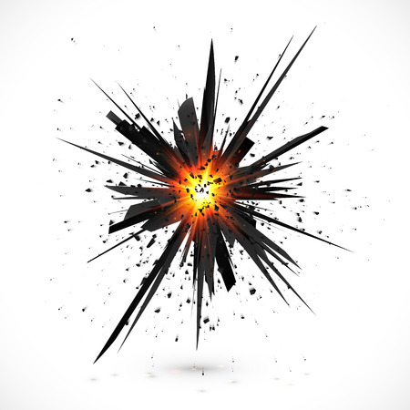 Black isolated vector explosion with particles Illustration