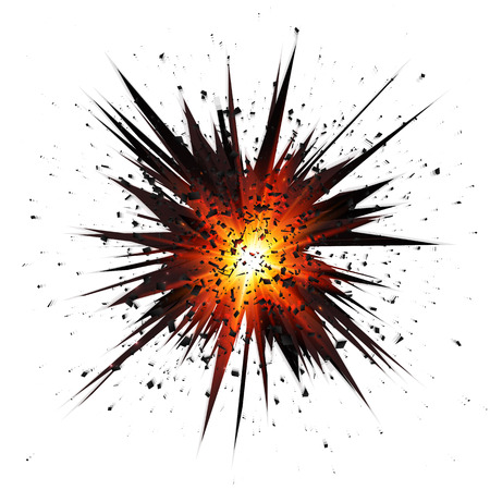 blast: Black isolated vector star explosion with particles Illustration