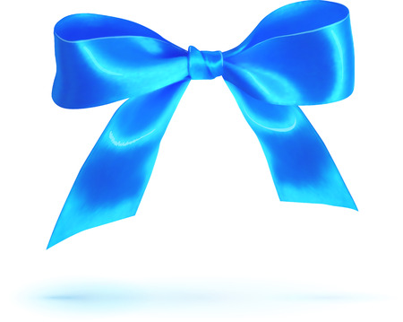 blue tie: Blue glossy silk bow isolated on white