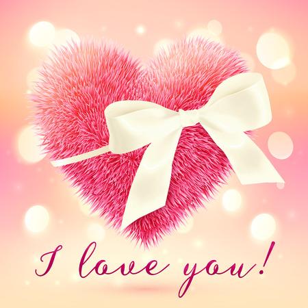mo�o blanco: Coraz�n rosado suave y esponjosa con arco blanco, tarjeta de felicitaci�n