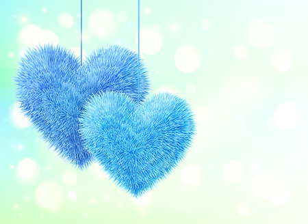 homosexual couple: Blue fluffy hearts pair greeting card horizontal template Illustration