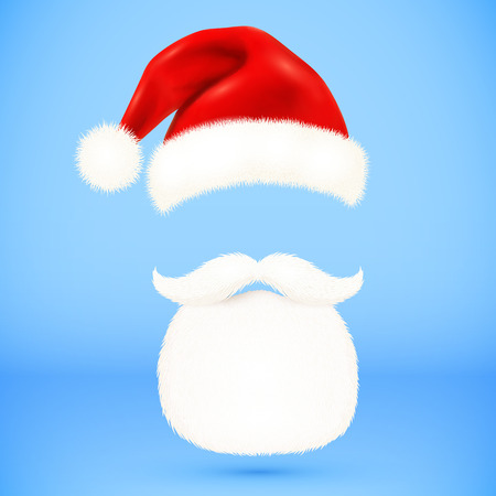 white beard: Red vector Santas hat, beard and mustaches