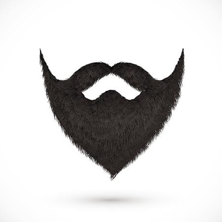 黒の口ひげとあごひげを白い背景で隔離