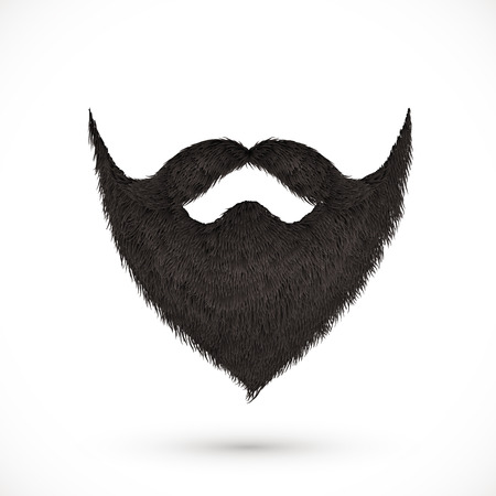 Black mustaches and beard isolated on white background