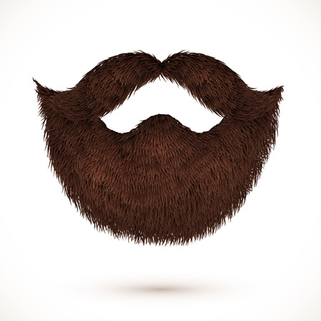 white beard: Brown mustaches and beard isolated on white background