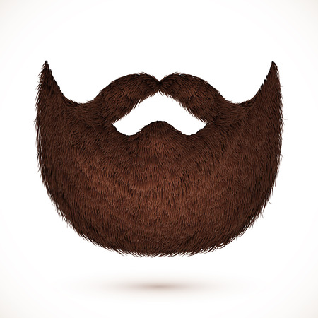 hair mask: Brown mustaches and beard isolated on white background