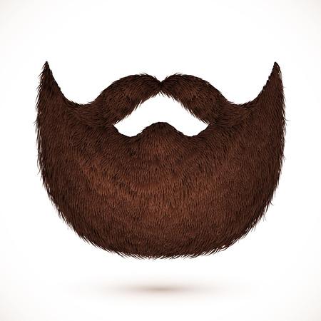 Bruine snor en baard op een witte achtergrond Vector Illustratie