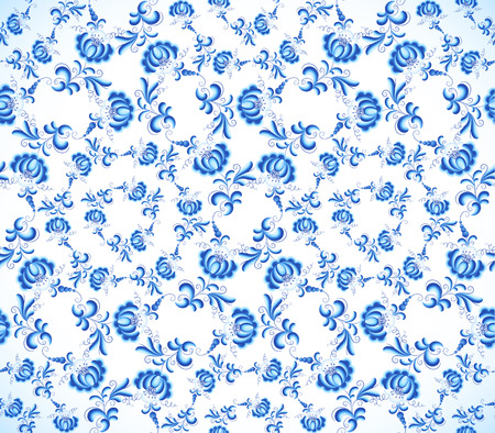 Blue vintage floral seamless pattern in gzhel style Vector