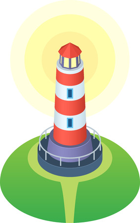 beacons: Red and white striped cartoon style lighthouse