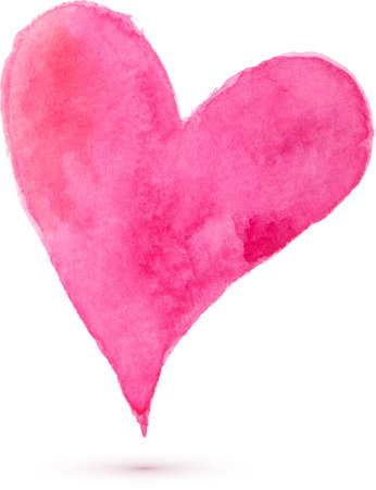 single: Watercolor painted heart for your design