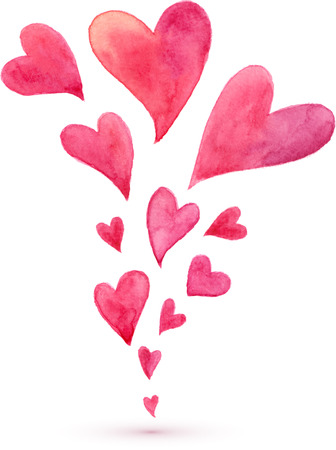 Pink watercolor painted flying hearts spring