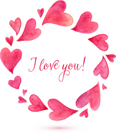 Watercolor painted pink hearts round frame