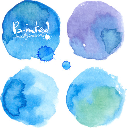 colours: Bright blue watercolor painted stains set