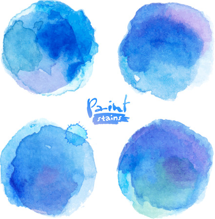 blue water: Bright blue watercolor painted stains set