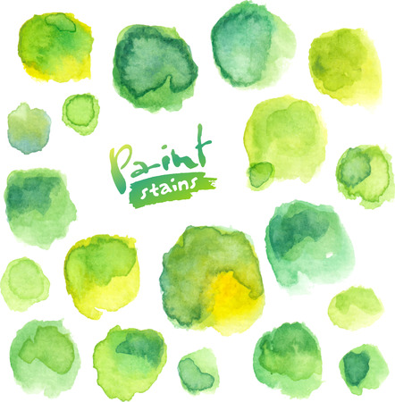 Green watercolor painted vector round stains set