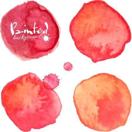 Red watercolor painted vector stains set