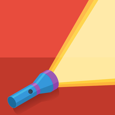 Blue flashlight in vector flat style on red background Illustration