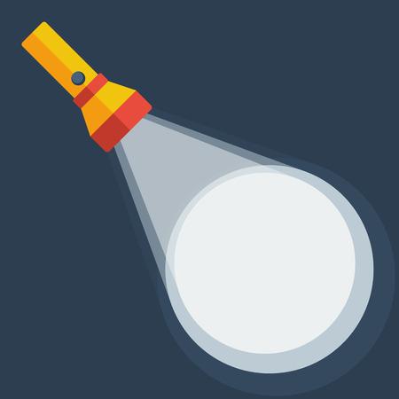 flash: Yellow flashlight in flat style on dark background