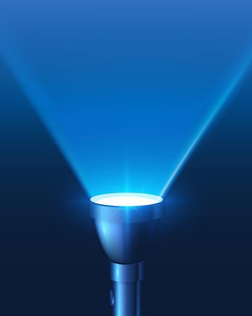 青い輝いて懐中電灯光ベクトルの背景