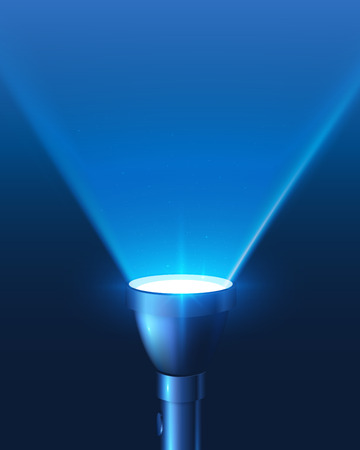 Blue shining flashlight light vector background