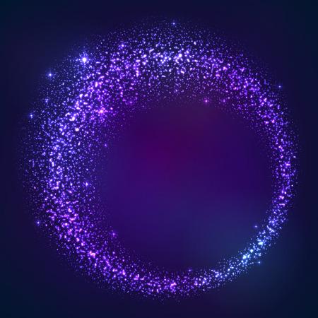 polvo: Oscuro polvo de estrellas azules vector magia marco redondo Vectores