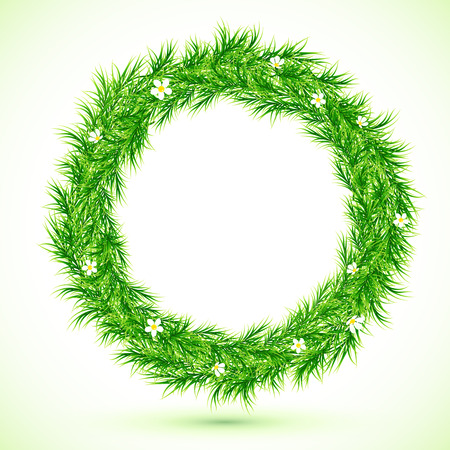 Green grass with chamomiles round frame Vector
