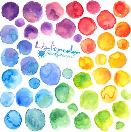water: Colores brillantes del arco iris de la acuarela pintado manchas de vectores Vectores