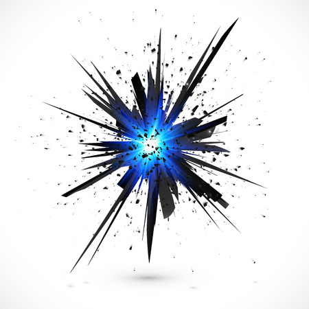 Black vector explosion with particles isolated on white background Ilustração