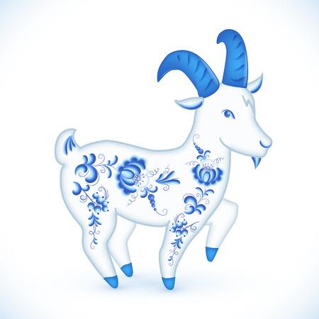gzhel: Blue cartoon goat in Russian gzhel style