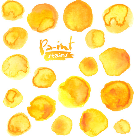 Big vector set of yellow watercolor painted stains Imagens - 34530403