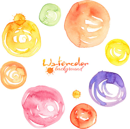 Colorful watercolor vector splashes, circles and spirals