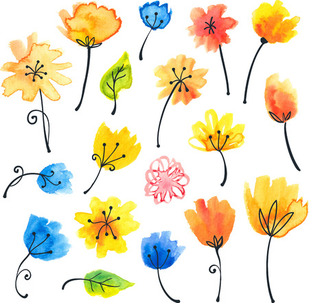 naive: Bright watercolor flowers in naive style Illustration