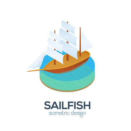 isometry: Vector isometric sailboat icon Illustration
