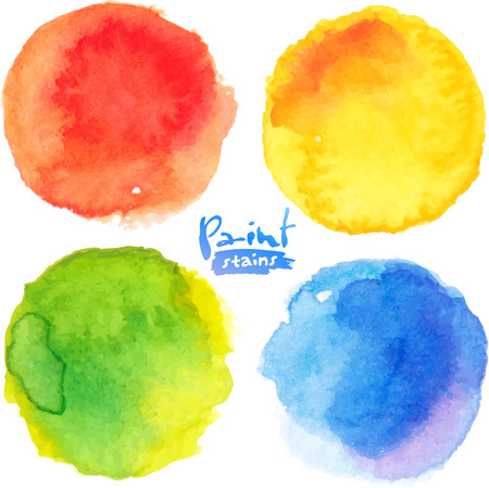 Bright colors watercolor painted stains set Фото со стока - 34569179
