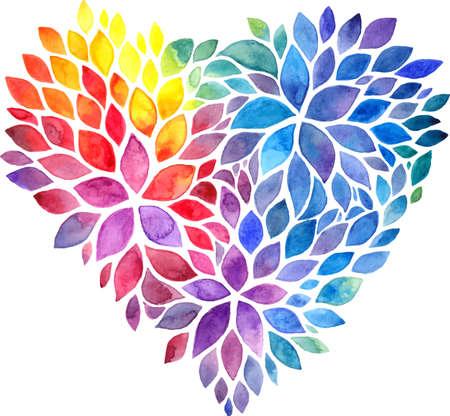 corazon en la mano: Rainbow p�talos pintados acuarela del vector del coraz�n Vectores