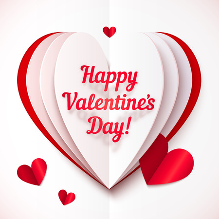 Folded paper heart with Happy Valentines Day text Vector