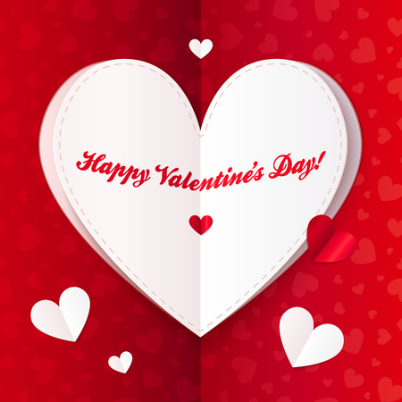 folded paper: Folded paper heart with Happy Valentines Day text