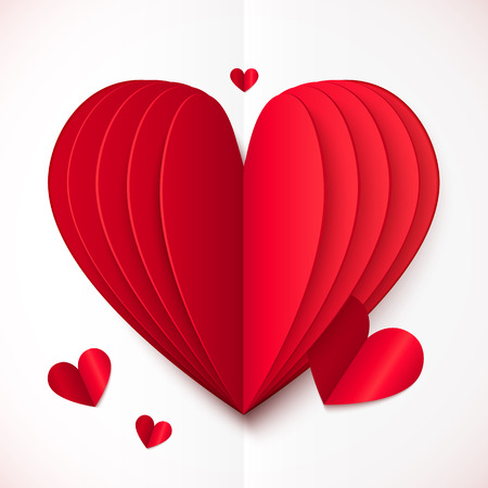 folded paper: Red and white folded paper vector heart