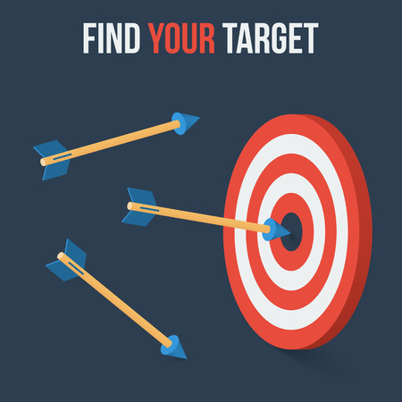 objectives: Vector target concept in flat axonometric style Illustration
