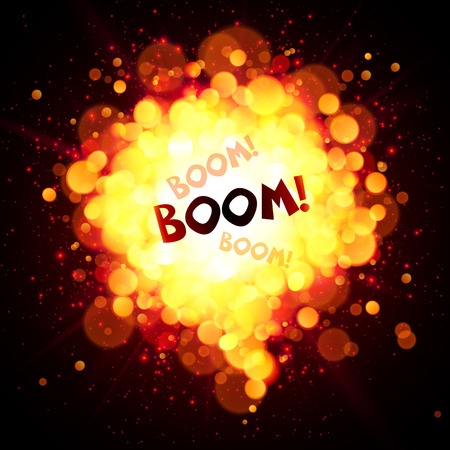 fireball speech bubble with Boom sign