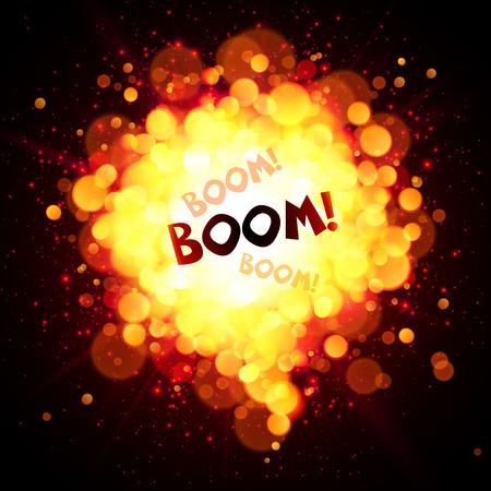 fireball speech bubble with Boom sign