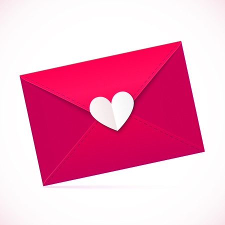 Pink vector paper envelope with white heart