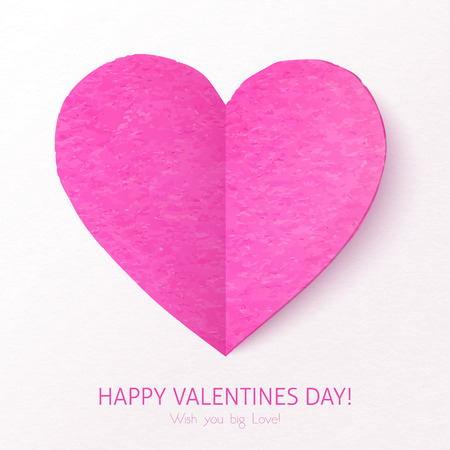 Pink textured folded vector heart Vector