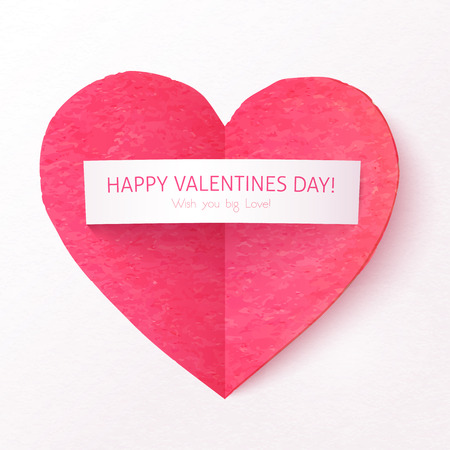 Pink textured folded heart with paper sticker Vector